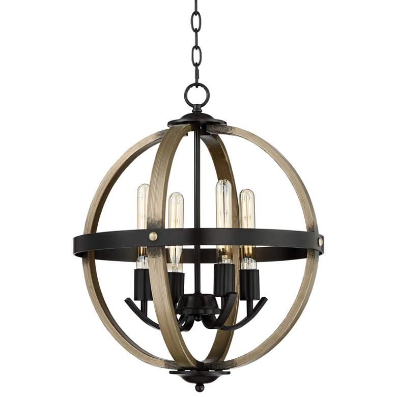 "Kimpton 18""W Dark Bronze and Wood 4-Light LED Orb Chandelier"
