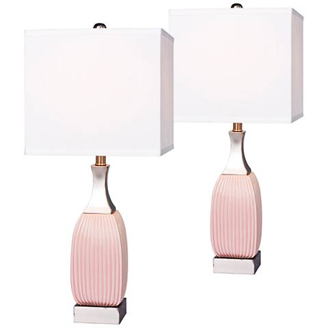 Lexie Vertically Ribbed Pink Ceramic Table Lamp Set of 2