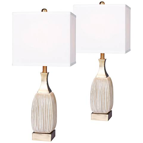 Lexie Ribbed Aged White Ceramic Table Lamp Set of 2