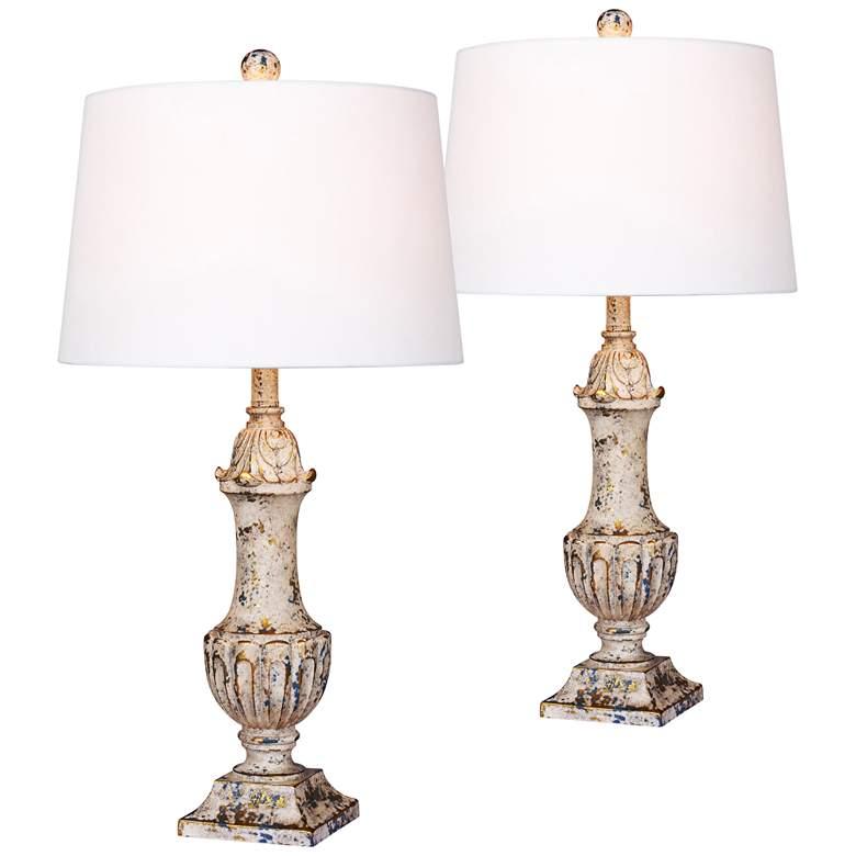 Worthington Antique Ivory Urn Table Lamp Set of 2