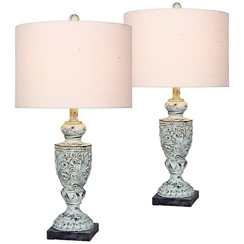 Mabel Antique Blue Urn Table Lamp Set of 2