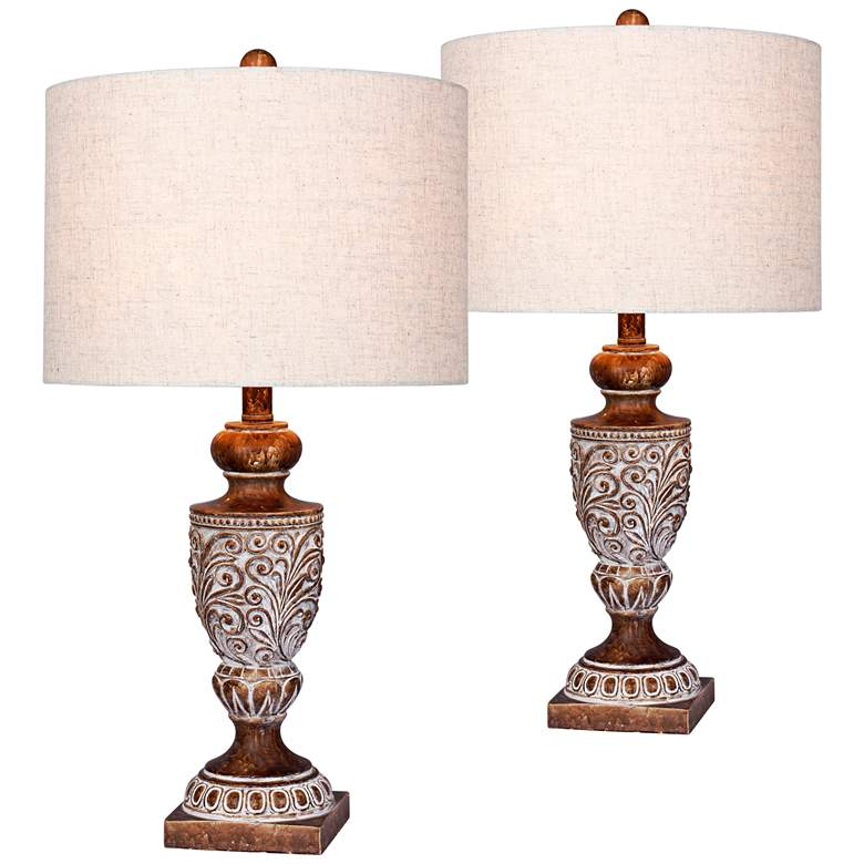 Mabel Antique Brown Urn Table Lamp Set of 2