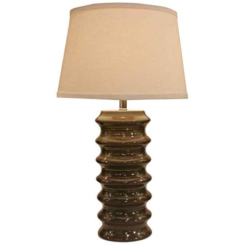 Holden Dark Taupe Ribbed Ceramic Table Lamp