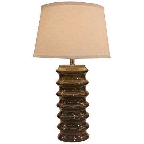 Holden Dark Taupe Ribbed Ceramic Table Lamp