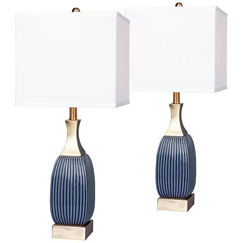 Lexie Vertically Ribbed Blue Ceramic Table Lamp Set of 2
