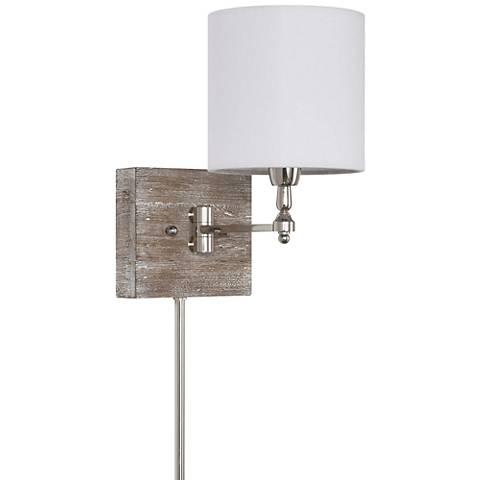 Quinn Polished Nickel Swing Arm Pin-Up Wall Lamp