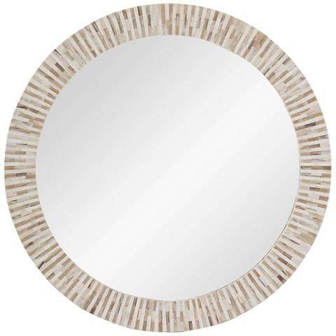 "Hampton Multi-Tone Bone 32"" Round Wall Mirror"