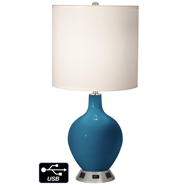 White Drum Table Lamp - 2 Outlets and USB in Bosporus
