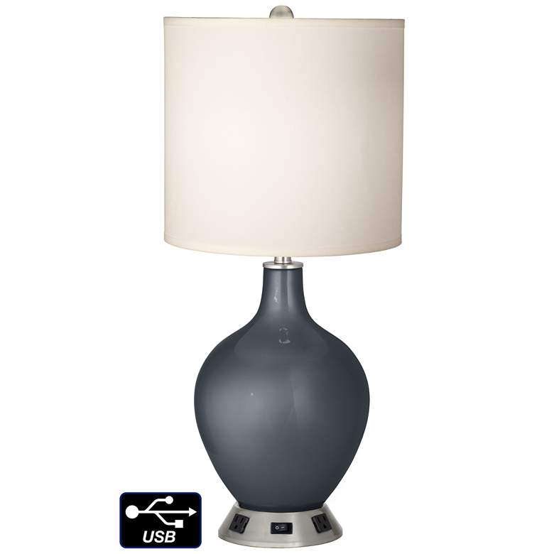 White Drum Table Lamp - 2 Outlets and USB in Gunmetal Metallic
