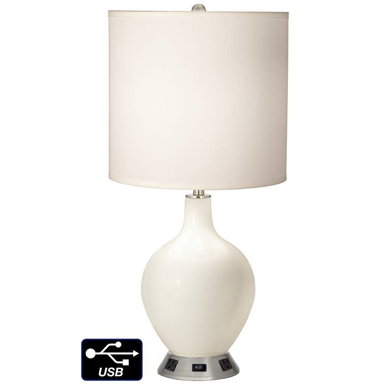 White Drum Table Lamp - 2 Outlets and USB in West Highland White