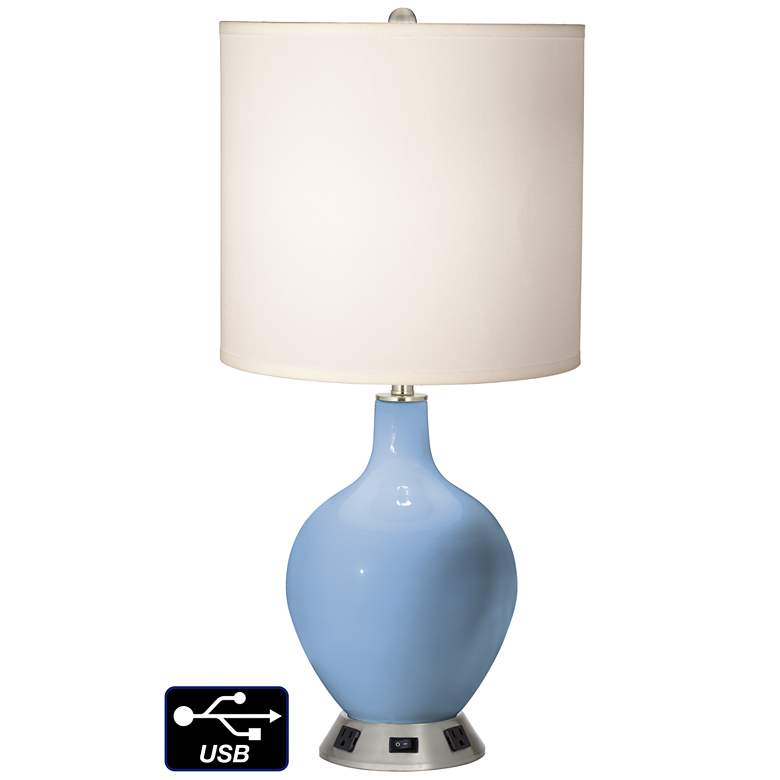White Drum Table Lamp - 2 Outlets and USB in Placid Blue