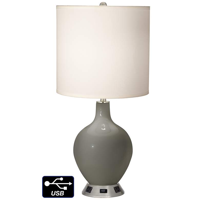 White Drum Table Lamp - 2 Outlets and USB in Gauntlet Gray