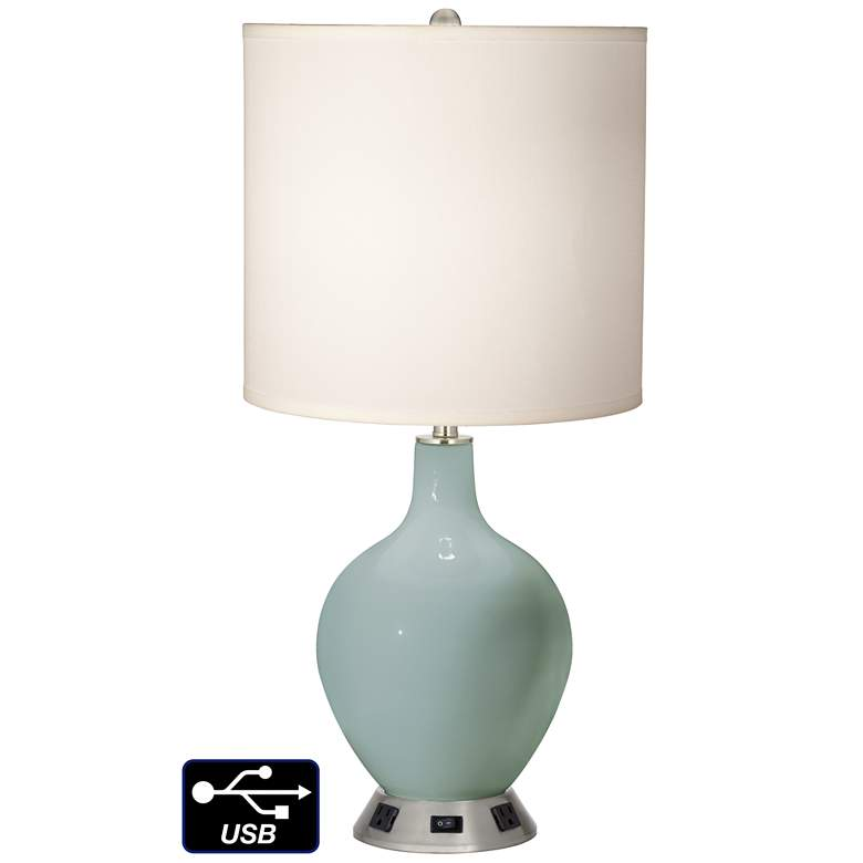 White Drum Table Lamp - 2 Outlets and USB in Aqua-Sphere