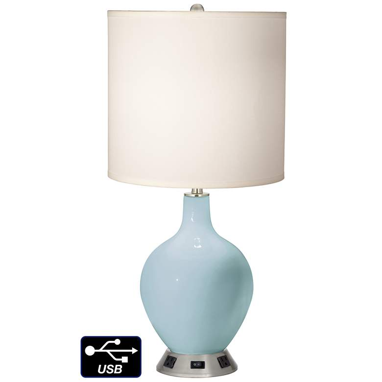 White Drum Table Lamp - 2 Outlets and USB in Vast Sky