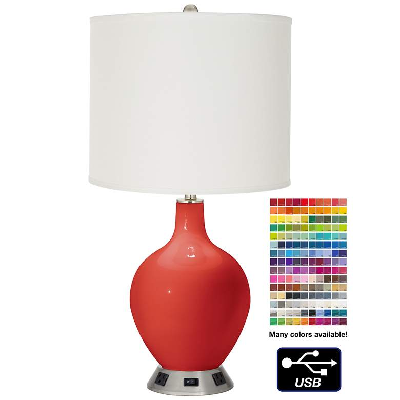 Off-White Drum Table Lamp - 2 Outlets and USB in Cherry Tomato