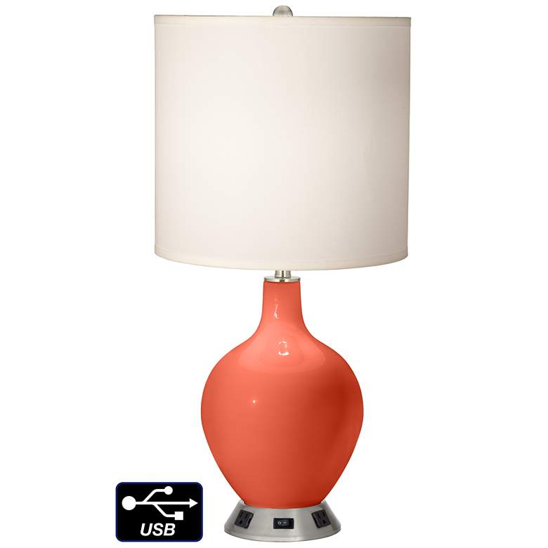 White Drum Table Lamp - 2 Outlets and USB in Daring Orange
