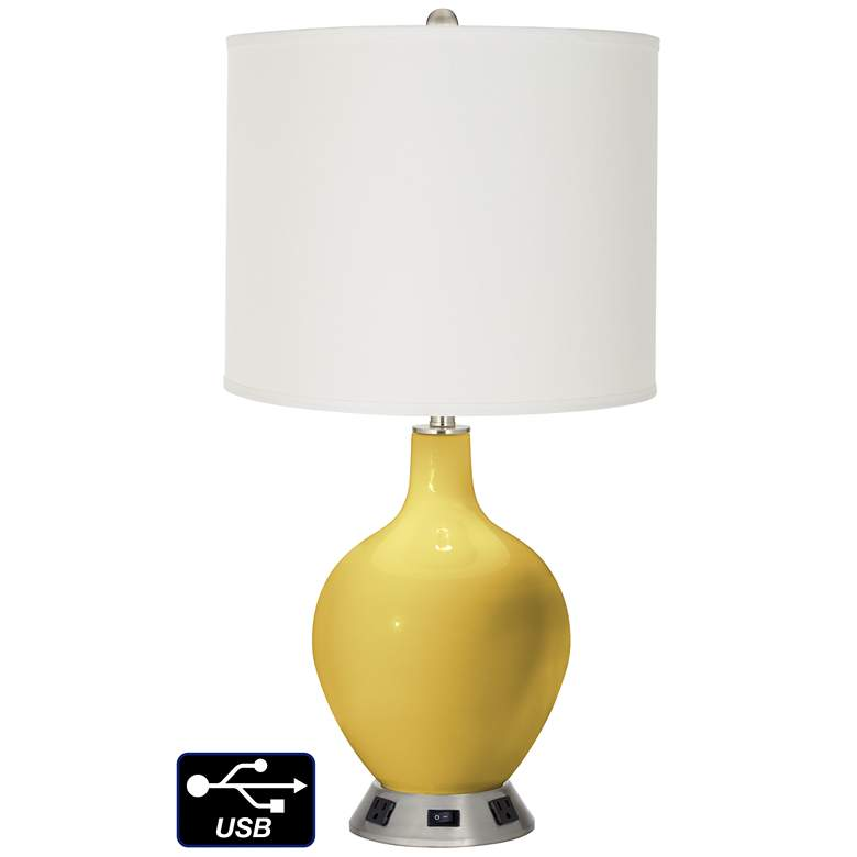 Off-White Drum Table Lamp - 2 Outlets and USB in Nugget