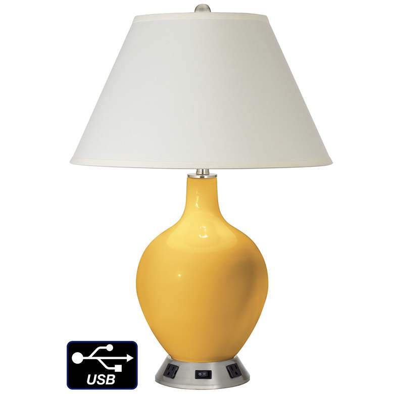 White Empire Table Lamp - 2 Outlets and USB in Goldenrod