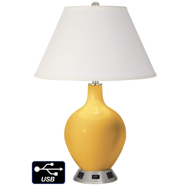 Ivory Empire Table Lamp - 2 Outlets and USB in Goldenrod
