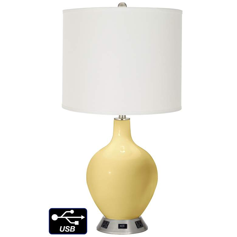 Off-White Drum Table Lamp - 2 Outlets and USB in Butter Up