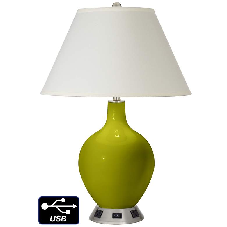 White Empire Table Lamp - 2 Outlets and USB in Olive Green
