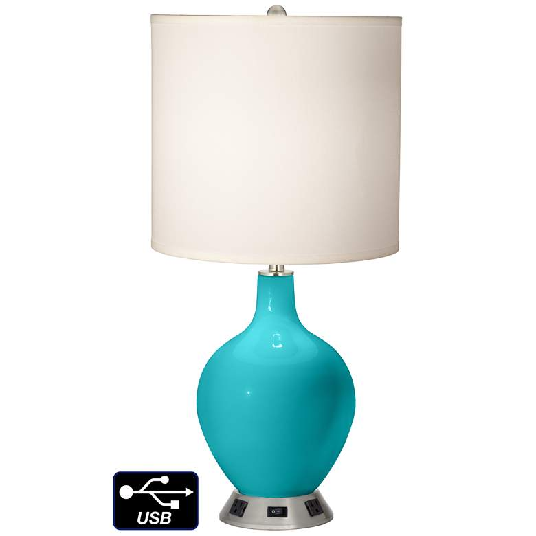 White Drum Table Lamp - 2 Outlets and USB in Surfer Blue