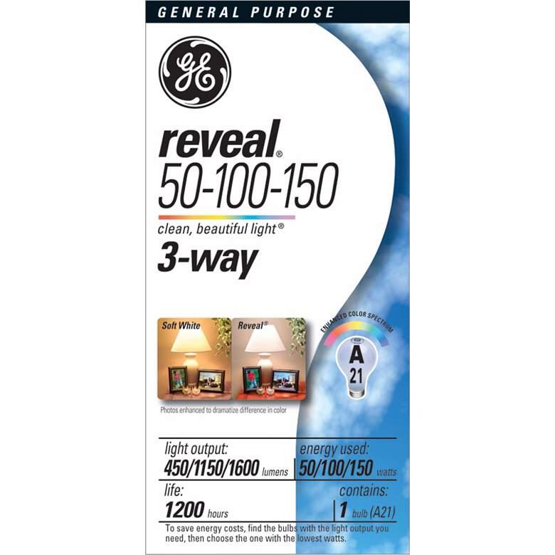 GE 50/100/150 Reveal 3-Way Light Bulb