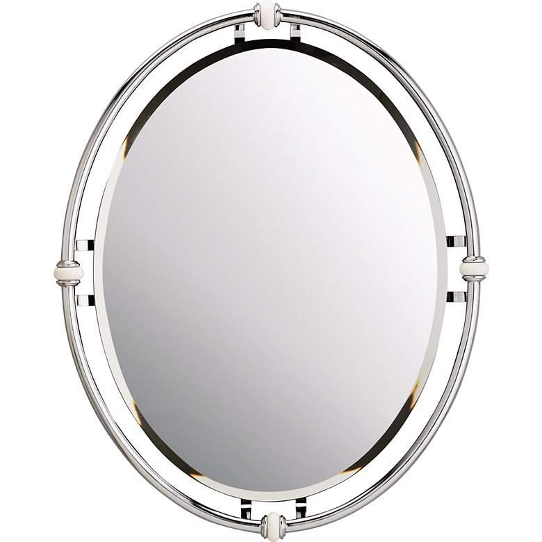 "Pocelona White Porcelain and Chrome 24"" x 30"" Wall Mirror"
