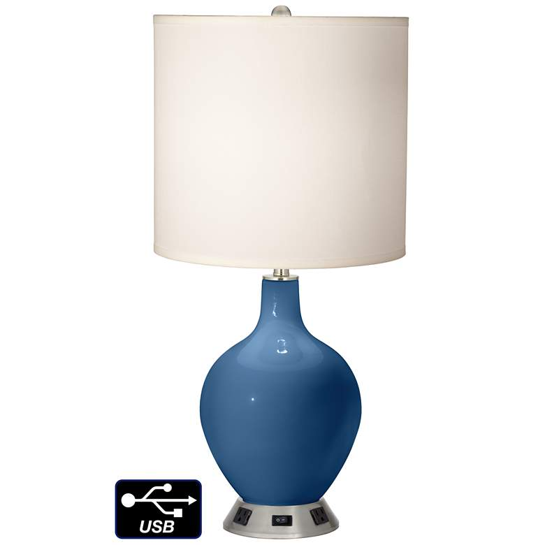 White Drum Table Lamp - 2 Outlets and USB in Regatta Blue