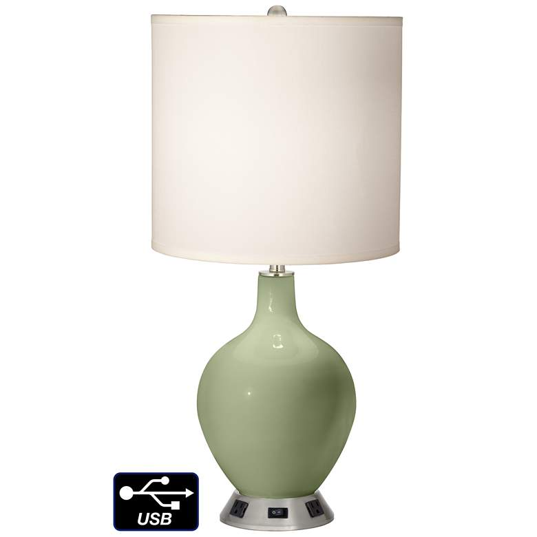 White Drum Table Lamp - 2 Outlets and USB in Majolica Green