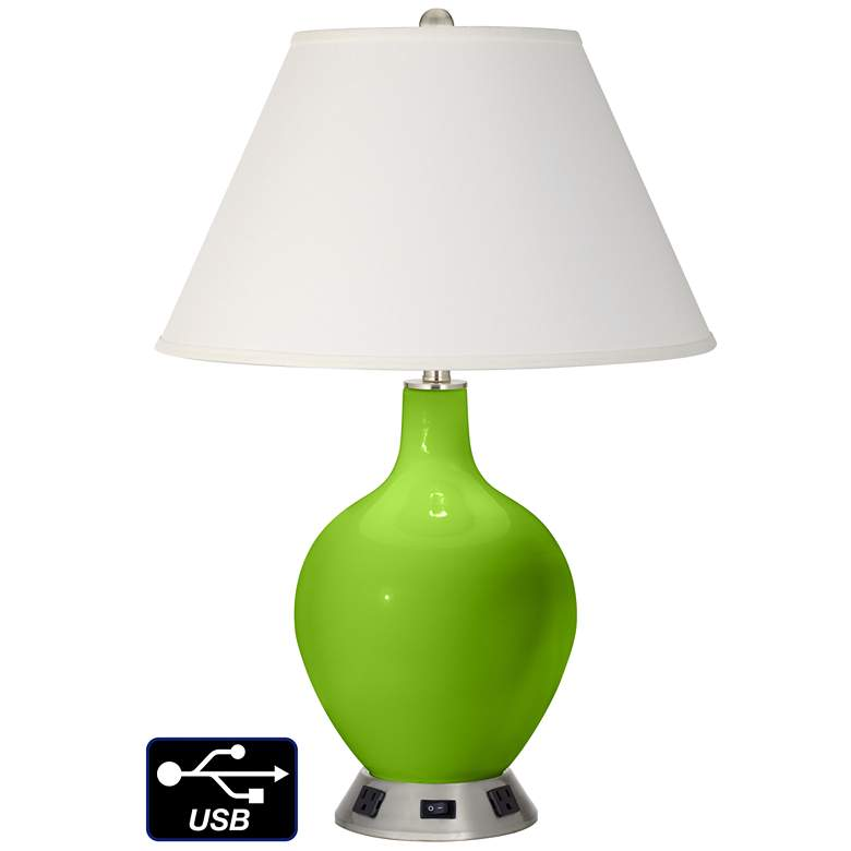 Ivory Empire Table Lamp - 2 Outlets and USB in Neon Green