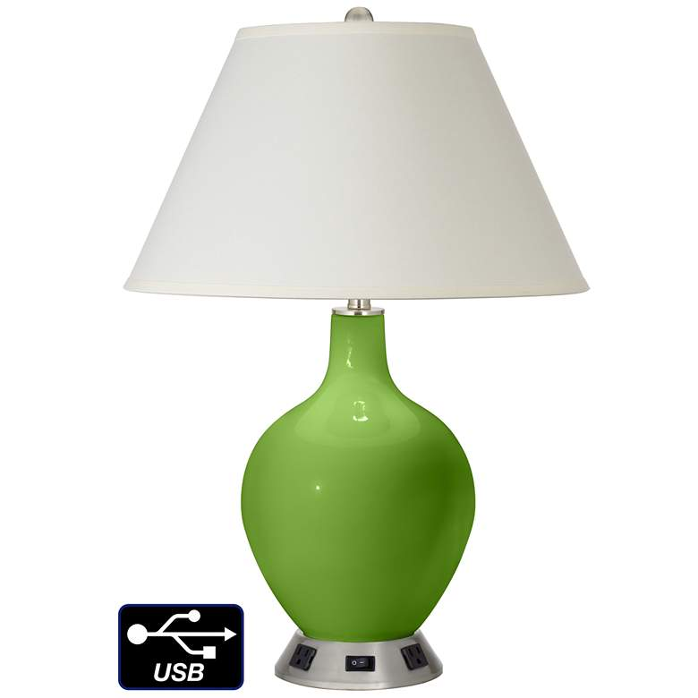 White Empire Table Lamp - 2 Outlets and USB in Rosemary Green
