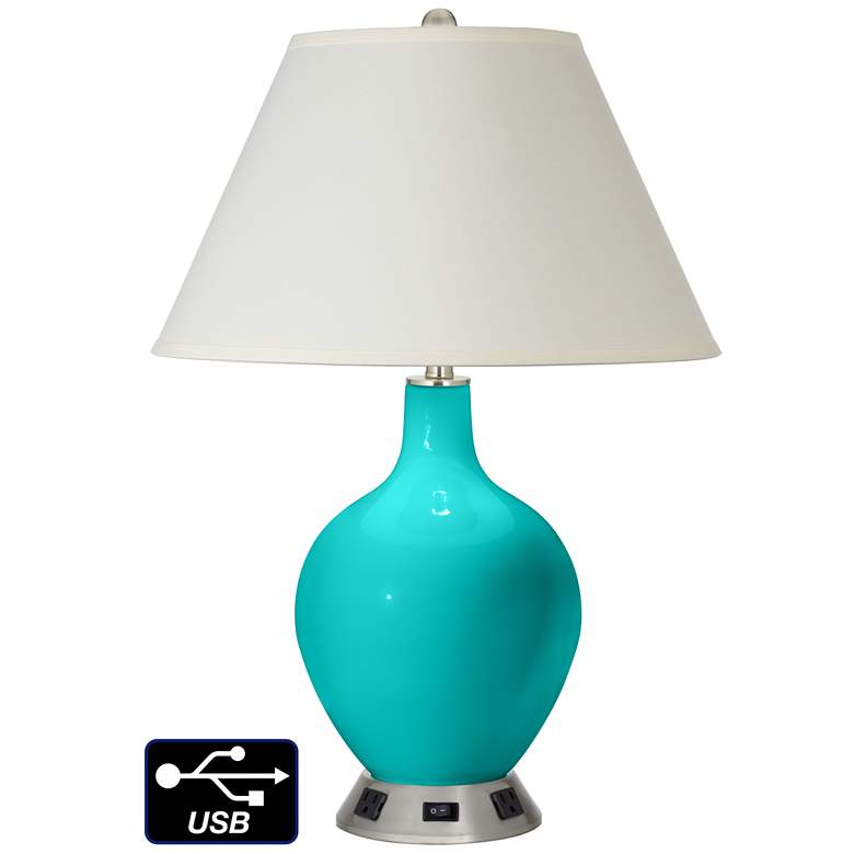 White Empire Table Lamp - 2 Outlets and USB in Turquoise