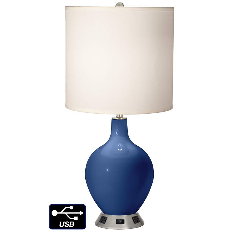 White Drum Table Lamp - 2 Outlets and USB in Monaco Blue