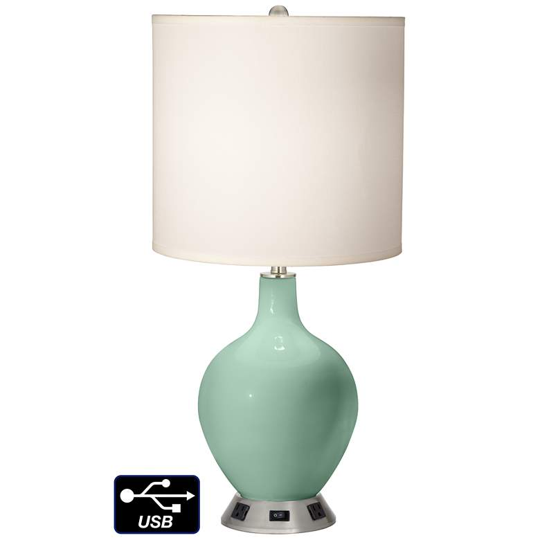 White Drum Table Lamp - 2 Outlets and USB in Grayed Jade