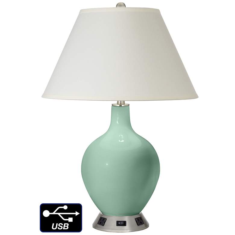White Empire Table Lamp - 2 Outlets and USB in Grayed Jade