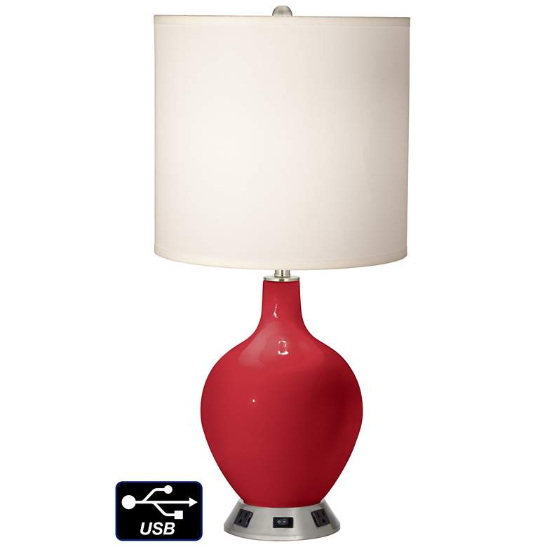 White Drum Table Lamp - 2 Outlets and USB in Ribbon Red