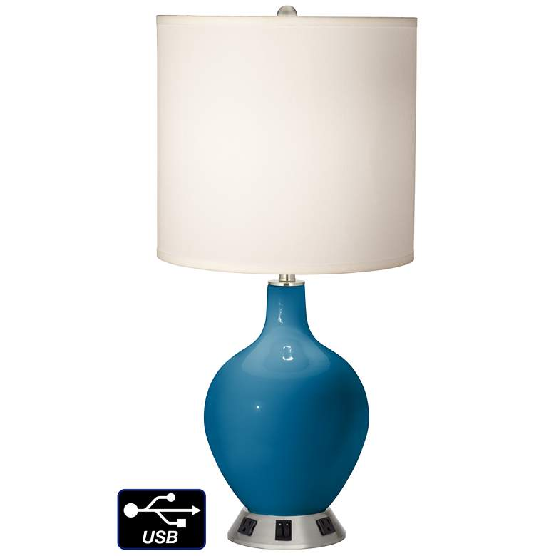 White Drum 2-Light Lamp - 2 Outlets and USB in Mykonos Blue