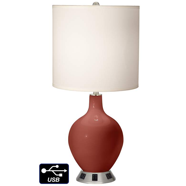 White Drum 2-Light Table Lamp - 2 Outlets and USB in Madeira