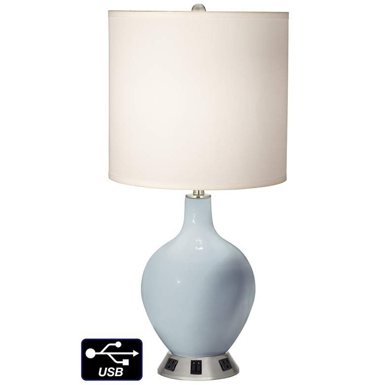White Drum 2-Light Table Lamp - 2 Outlets and USB in Take Five