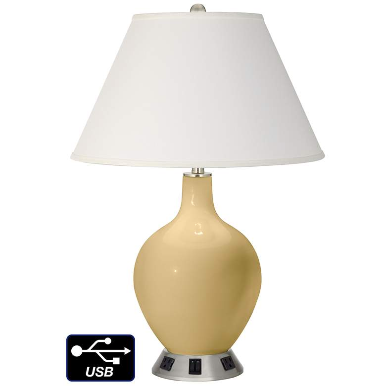 Ivory Empire 2-Light Lamp - 2 Outlets and USB in Humble Gold
