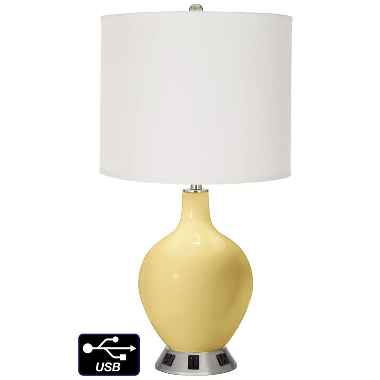 Off-White Drum 2-Light Lamp - 2 Outlets and USB in Butter Up