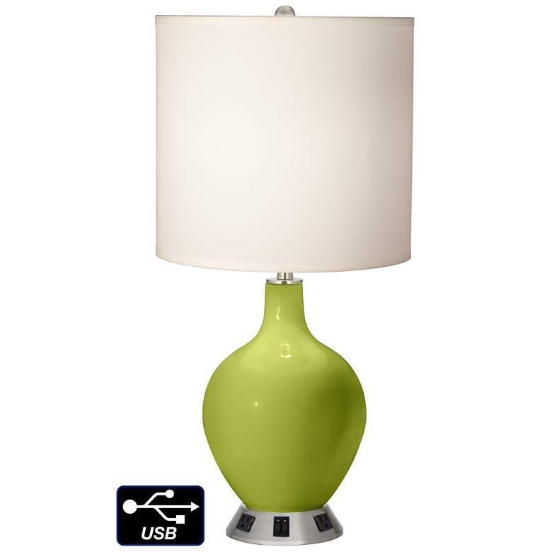 White Drum 2-Light Table Lamp - 2 Outlets and USB in Parakeet