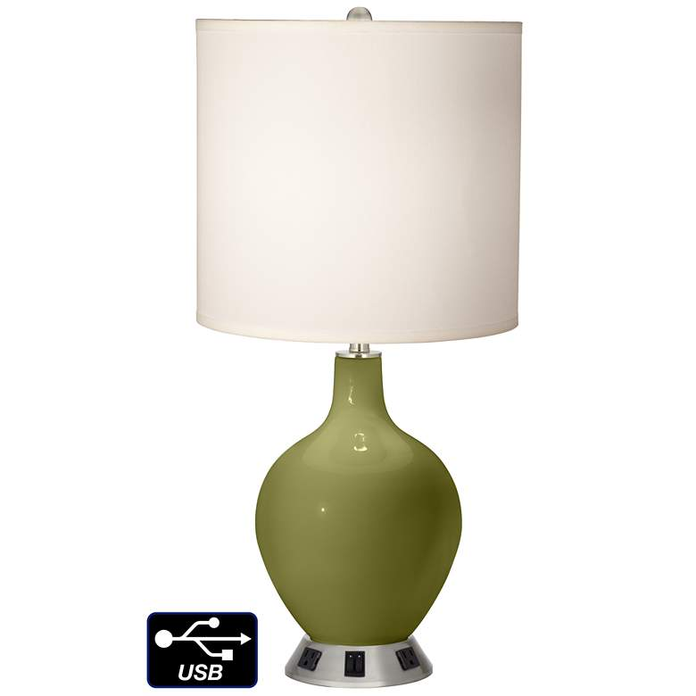 White Drum 2-Light Table Lamp - 2 Outlets and USB in Rural Green