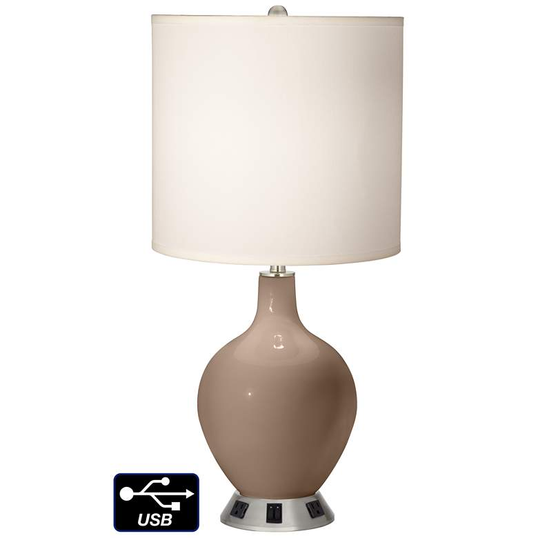 White Drum 2-Light Table Lamp - 2 Outlets and USB in Mocha
