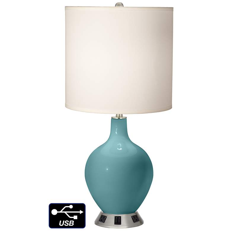 White Drum 2-Light Lamp - 2 Outlets and USB in Reflecting Pool