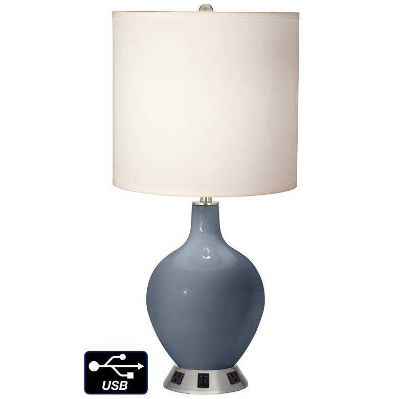 White Drum 2-Light Lamp - 2 Outlets and USB in Granite Peak