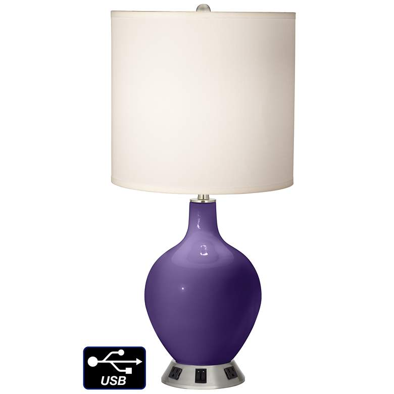 White Drum 2-Light Lamp - 2 Outlets and USB in Izmir Purple
