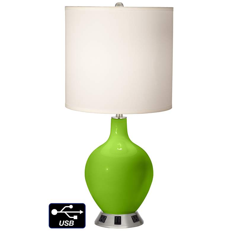 White Drum 2-Light Table Lamp - 2 Outlets and USB in Neon Green