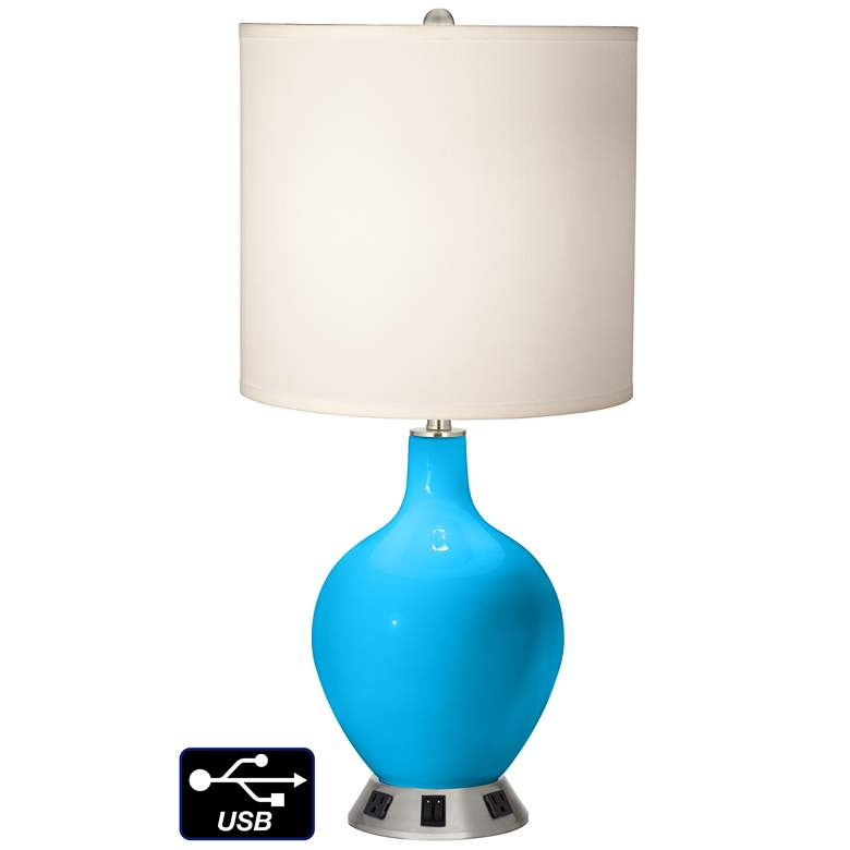 White Drum 2-Light Table Lamp - 2 Outlets and USB in Sky Blue